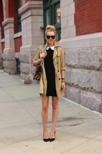 Un trench coat femme porté avec une robe, pour un look bon chic bon genre